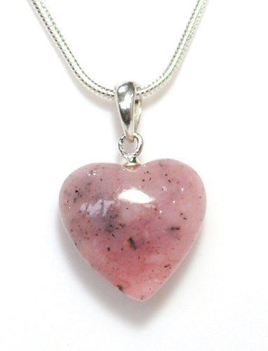 New! Natural Pink Opal Polished Crystal Heart Pendant With 925 Sterling Silver Clasp & 18