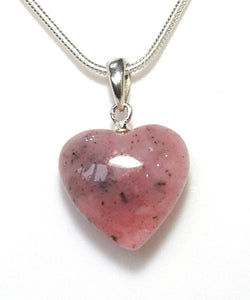 "New! Natural Pink Opal Polished Crystal Heart Pendant With 925 Sterling Silver Clasp & 18"" Chain"
