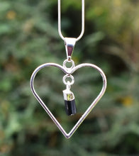 Load image into Gallery viewer, New! Natural Raw Black Tourmaline Electroplated Crystal Stone Heart Pendant Necklace Gift Boxed