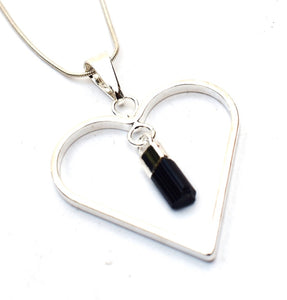 New! Natural Raw Black Tourmaline Electroplated Crystal Stone Heart Pendant Necklace Gift Boxed