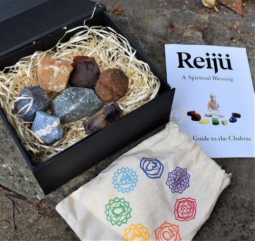 New! Natural Chakra Crystal Raw Chunk Set Of Seven Inc Guide To The Chakras Gift Set