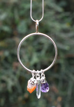 Load image into Gallery viewer, New! Natural Amethyst, Citrine & Clear Quartz Crystals Electroplated Crystal Stone Dangle Pendant Necklace Gift Boxed