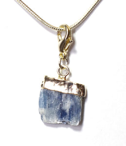 New! Kyanite Blue Crystal Raw Stone Pendant Charm Inc Necklace & Gift Box
