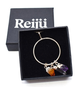New! Natural Amethyst, Citrine & Clear Quartz Crystals Electroplated Crystal Stone Dangle Pendant Necklace Gift Boxed