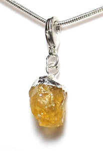 New! Natural Raw Citrine Crystal Stone Pendant Necklace Inc Chain