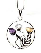 Load image into Gallery viewer, New! Natural 'Happiness' Crystal Pendant Necklace in Gift Box - Amethyst, Citrine & Clear Quartz Floral Design