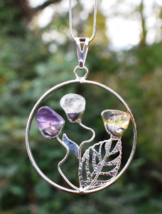 New! Natural 'Happiness' Crystal Pendant Necklace in Gift Box - Amethyst, Citrine & Clear Quartz Floral Design