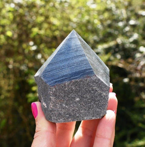 New! Natural & Unique Polished Point Hematite Crystal Piece Inc 379g Luxury Gift Box & Benefits Tag