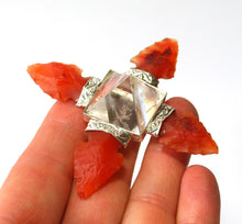 Load image into Gallery viewer, Carnelian & Clear Quartz Crystal Stone Arrowhead Energy Generator