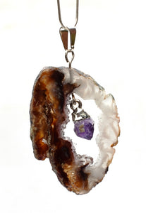 New! Amethyst & Agate Geode Electroplated Crystal Stone Pendant Necklace Gift Boxed