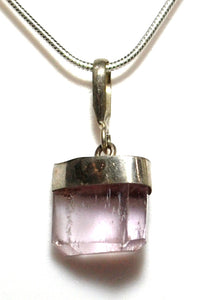 New! Natural Kunzite Crystal Stone Pendant Inc 925 Sterling Silver Clasp & Chain Necklace