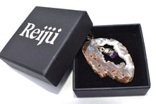 Load image into Gallery viewer, New! Amethyst & Agate Geode Electroplated Crystal Stone Pendant Necklace Gift Boxed