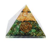 Load image into Gallery viewer, New Green Aventurine & Clear Quartz Large Crystal Stone Orgone Pyramid