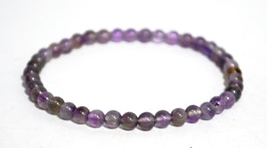 New! Natural Purple Amethyst Polished Small Crystal Stones Beads Elasticated Bracelet
