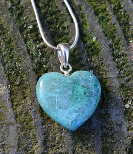 New! Chrysocolla Natural 925 Silver Healing Crystal Polished Heart Pendant Necklace Inc Gift Boxed