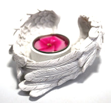Load image into Gallery viewer, New! Glitter Large White Angel Wings Dish Bowl Gift Tealight Candle & Holder