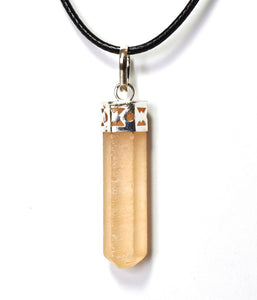 "New! Natural Orange Selenite Crystal Stone Faceted Pendant Inc 18"" Cord Necklace"