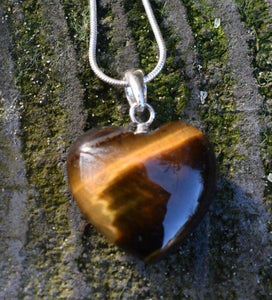 "New! Natural Polished Sterling Silver Tigers Eye Crystal Heart 925 Silver Pendant Inc 18"" Silver Necklace & Gift Box"