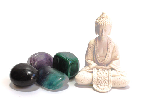"""Crystals for Electromagnetic Protection"" Tumble Stone & Buddha Set"