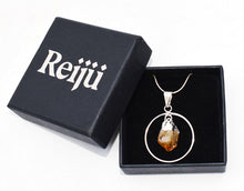 Load image into Gallery viewer, New! Citrine Electroplated Crystal Stone Charm Hoop Pendant Necklace Gift Boxed