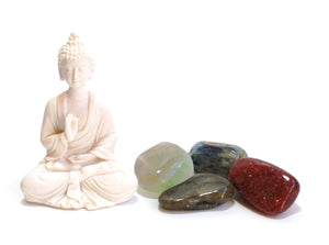 """Crystals for Metaphysical Abilities"" Tumble Stone & Buddha Set"