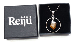 New! Citrine Electroplated Crystal Stone Charm Hoop Pendant Necklace Gift Boxed