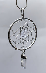 New! Natural Clear Quartz Crystal Stone 'Dream Catcher' Pendant & Necklace Gift Boxed