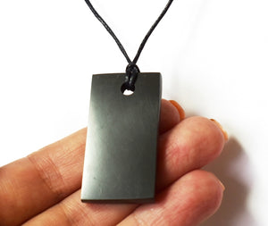 New! Natural Shungite Crystal Rectangular Pendant Inc Cord Necklace