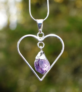 New! Natural Raw Amethyst Electroplated Crystal Stone Heart Pendant Necklace Gift Boxed