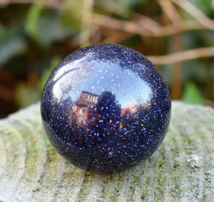 New! Blue Goldstone Polished Crystal Stone Sphere Ball Inc Luxury Gift Box & Tag
