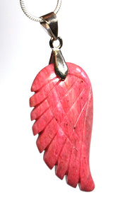 Rhodonite Crystal Stone Angel Wings Pendant Necklace Inc Silver Chain