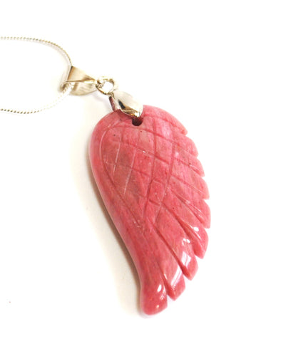 Natural Rhodonite Crystal Stone Angel Wings Pendant Necklace Inc Silver Chain