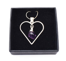 Load image into Gallery viewer, New! Natural Raw Amethyst Electroplated Crystal Stone Heart Pendant Necklace Gift Boxed