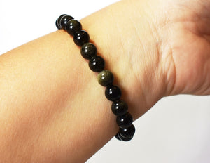 New! Natural Polished Black Obsidian Crystal Stone Beads Elasticated Bracelet