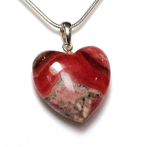 New! Natural Rhodochrosite Crystal Stone 925 Sterling Silver Pendant & Necklace
