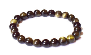 New! Natural Large Polished Black Obsidian Crystal Stone Beads Elasticated Bracelet