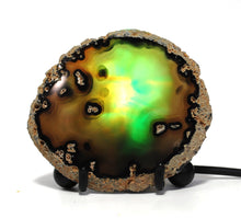 Load image into Gallery viewer, New! Natural Mini Green Agate Crystal Polished Slice USB LED Bulb Lamp