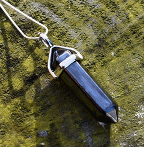 "New! Natural Hematite Polished & Faceted Crystal Stone Pendant Necklace Inc 18"" Silver Chain Gift Boxed"