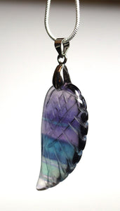 Natural Banded Purple Fluorite Crystal Angel Wing Pendant Necklace & Silver Chain