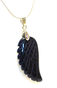 "New! Blue Goldstone Crystal Angel Wing Pendant Inc 18"" Silver Plated Necklace"