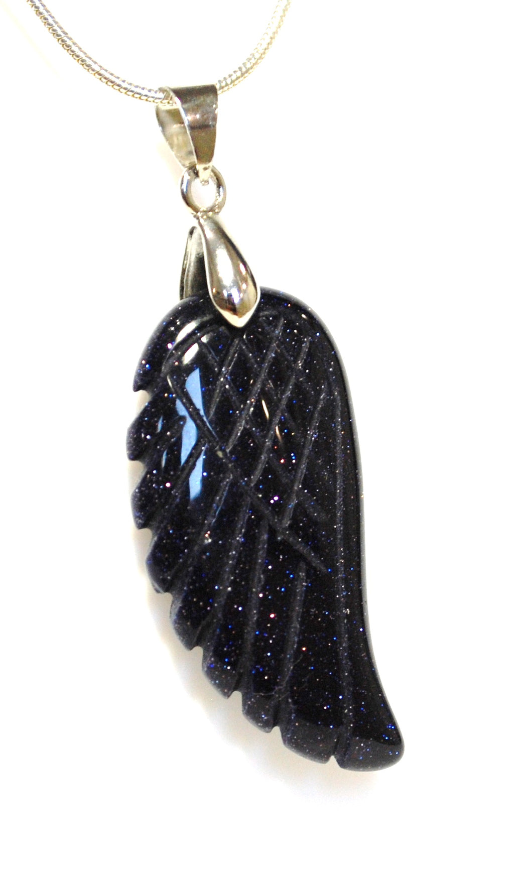 New! Blue Goldstone Crystal Angel Wing Pendant Inc 18