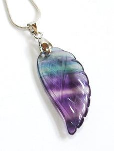 Banded Purple Fluorite Crystal Angel Wing Pendant Necklace & Silver Chain