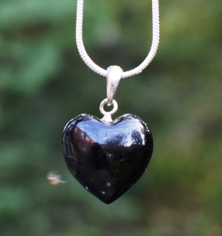 New! Natural Polished Black Tourmaline Crystal Stone 925 Sterling Silver Heart Pendant Necklace Gift Boxed