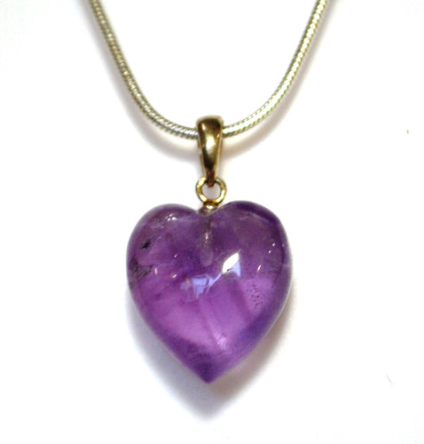 New! Natural Polished Amethyst 925 Sterling Silver Crystal Heart Pendant Inc 18