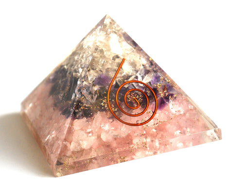 Amethyst, Clear Quartz & Rose Quartz Orgone Pyramid - Krystal Gifts UK