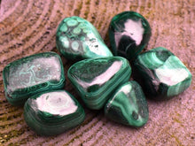 Load image into Gallery viewer, New! Malachite Natural Polished Crystal Tumble Stone Gift Wrapped Inc Benefits Tag