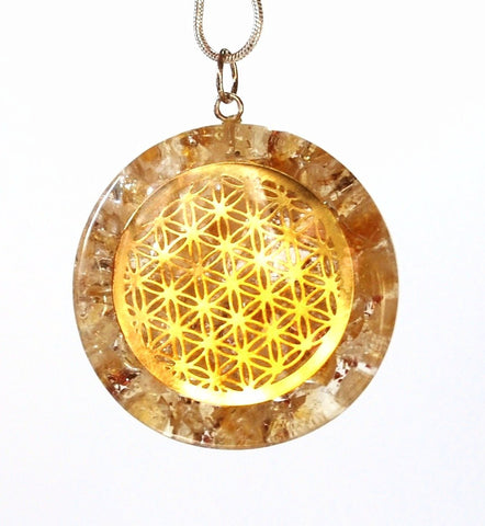 "NEW Citrine ""Tree Of Life"" Orgone Crystal Stone Pendant Inc Silver Chain - Krystal Gifts UK"