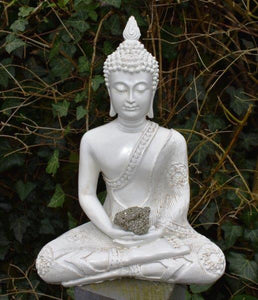 New! Large Shabby Chic Meditation White Buddha & Natural Pyrite Crystal Raw Piece