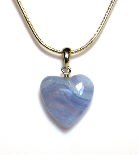 New! Natural Blue Lace Agate Small Crystal Stone Heart 925 Silver Pendant Necklace Gift Wrapped
