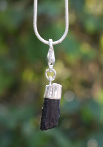 New! Natural Raw Small Black Tourmaline Crystal Stone Electroplated Pendant Charm Inc Necklace & Gift Box